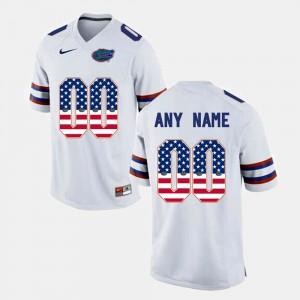 Men's UF #00 White US Flag Fashion Customized Jerseys 830852-998