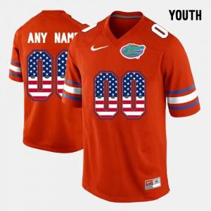 Youth Florida #00 Orange US Flag Fashion Customized Jerseys 306862-785