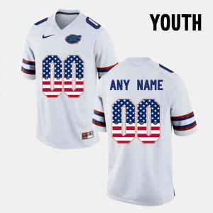 For Kids Florida Gator #00 White US Flag Fashion Custom Jersey 378125-204