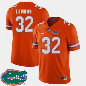 Men Gator #32 Adarius Lemons Orange College Football 2018 SEC Jersey 161751-151