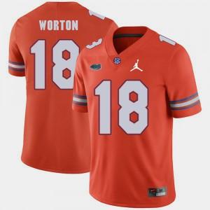 For Men University of Florida #18 C.J. Worton Orange Jordan Brand Replica 2018 Game Jersey 885740-685