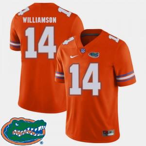 For Men's Florida #14 Chris Williamson Orange College Football 2018 SEC Jersey 546614-895