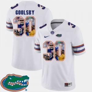 Men Gator #30 DeAndre Goolsby White Pictorial Fashion Football Jersey 356158-674