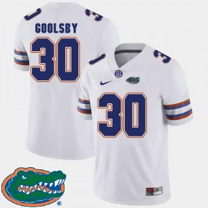 Men's University of Florida #30 DeAndre Goolsby White College Football 2018 SEC Jersey 855512-486