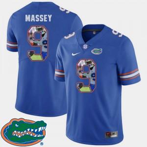 Men Florida Gator #9 Dre Massey Royal Pictorial Fashion Football Jersey 680803-192