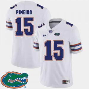 For Men's Florida Gator #15 Eddy Pineiro White College Football 2018 SEC Jersey 702301-352