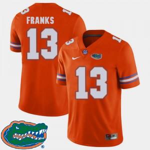 For Men's University of Florida #13 Feleipe Franks Orange College Football 2018 SEC Jersey 469763-925