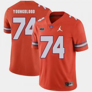 Men's UF #74 Jack Youngblood Orange Jordan Brand Replica 2018 Game Jersey 560797-232