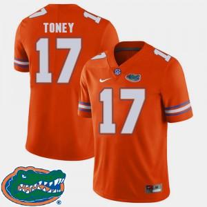 For Men Gators #17 Kadarius Toney Orange College Football 2018 SEC Jersey 903694-944