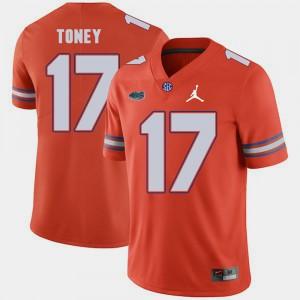 Mens Florida #17 Kadarius Toney Orange Jordan Brand Replica 2018 Game Jersey 324037-622