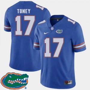 Mens Florida Gators #17 Kadarius Toney Royal College Football 2018 SEC Jersey 494684-140