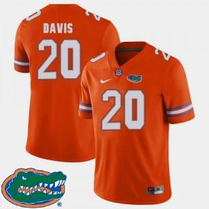 For Men Florida Gators #20 Malik Davis Orange College Football 2018 SEC Jersey 157755-749
