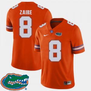 Men Florida Gators #8 Malik Zaire Orange College Football 2018 SEC Jersey 142330-384