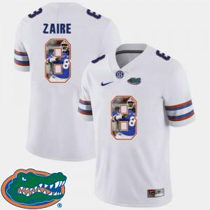 Men Gator #8 Malik Zaire White Pictorial Fashion Football Jersey 198412-776