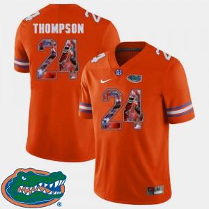 For Men University of Florida #24 Mark Thompson Orange Pictorial Fashion Football Jersey 383006-971