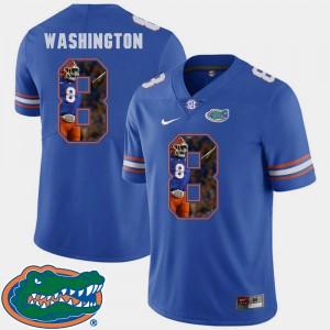 Mens Florida Gator #8 Nick Washington Royal Pictorial Fashion Football Jersey 760940-134