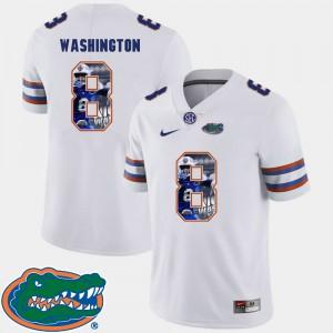 Men's Florida Gators #8 Nick Washington White Pictorial Fashion Football Jersey 368028-540