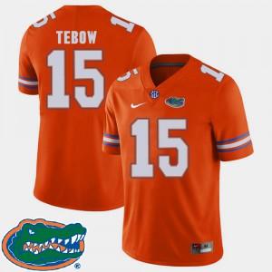 Mens Florida Gators #15 Tim Tebow Orange College Football 2018 SEC Jersey 502072-880