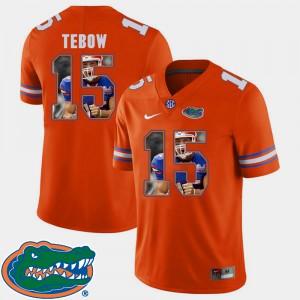 Men Florida Gator #15 Tim Tebow Orange Pictorial Fashion Football Jersey 511877-758