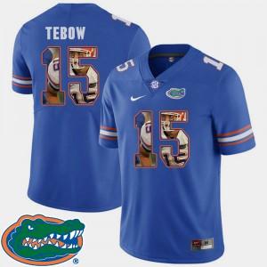 Men Florida Gator #15 Tim Tebow Royal Pictorial Fashion Football Jersey 997854-440