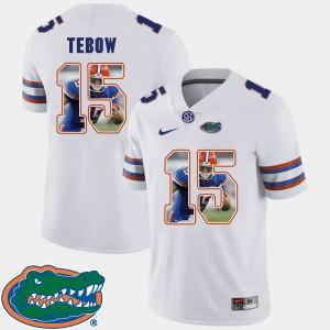 For Men Florida Gators #15 Tim Tebow White Pictorial Fashion Football Jersey 727587-188