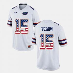 Men's UF #15 Tim Tebow White US Flag Fashion Jersey 664262-988